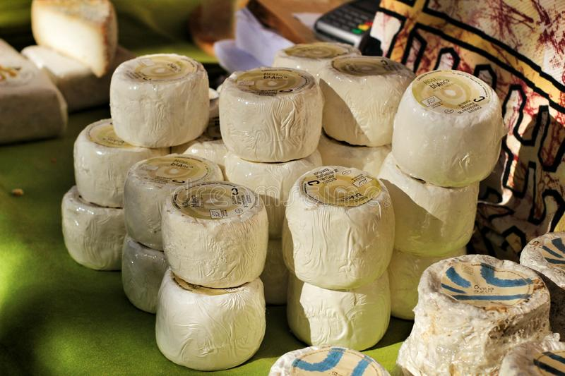 Cheese for sale at the Local ecological market in Elche royalty free stock images