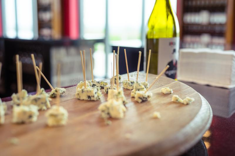 Cheese samples set out on a board royalty free stock images