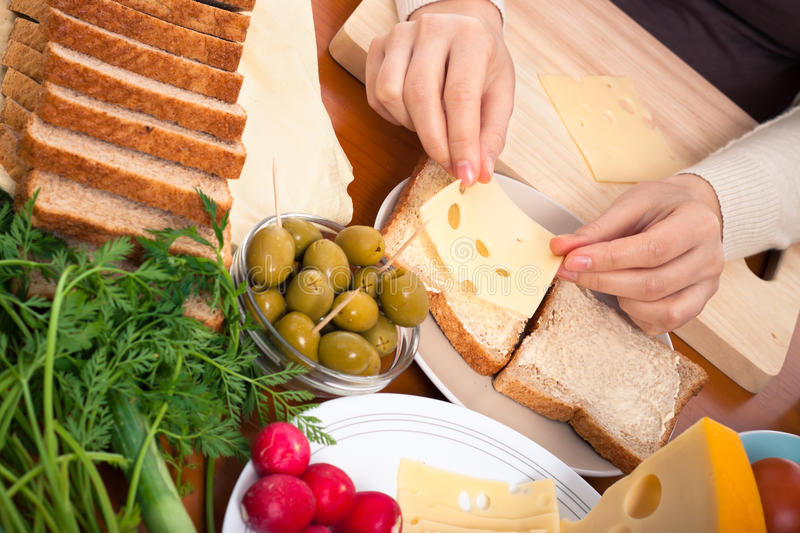 Cheese Sandwiches Preparation Royalty Free Stock Photo