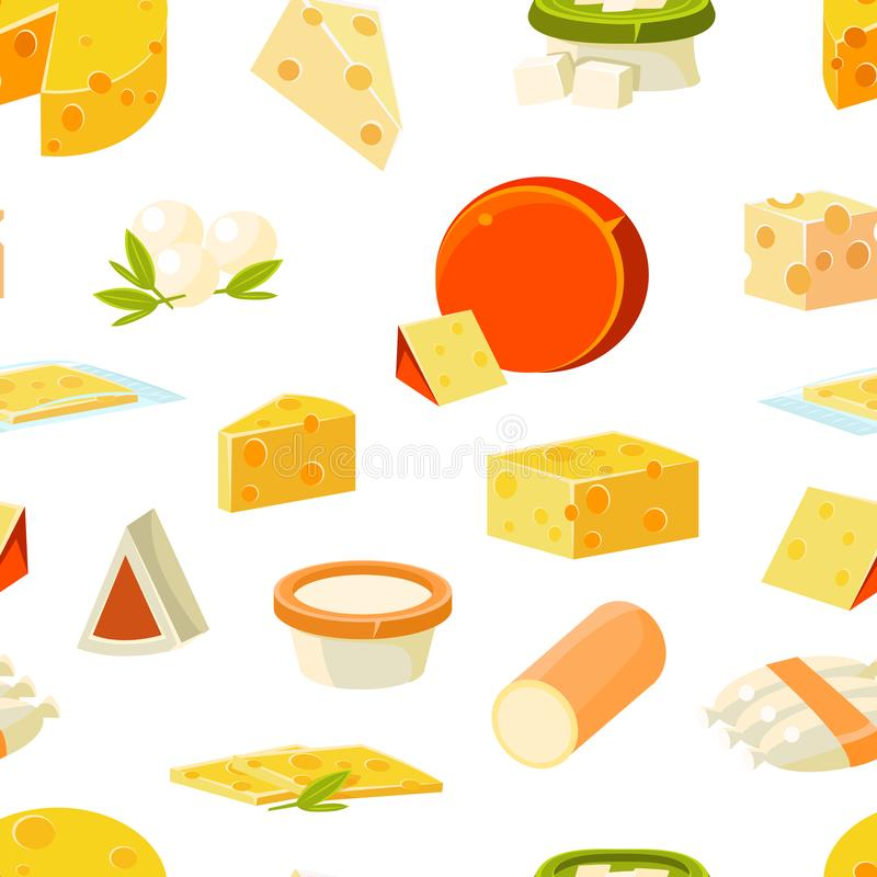 Cheese Seamless Pattern with Natural Dairy Products, Design Element Can Be Used for Fabric, Wallpaper, Packaging Vector. Cheese Seamless Pattern with Natural stock illustration