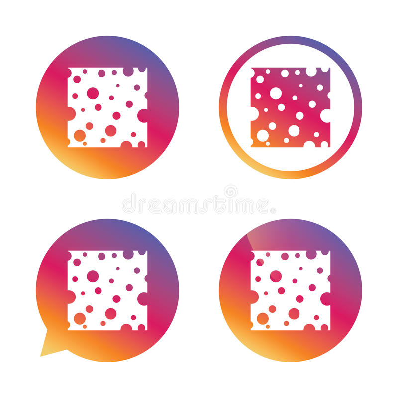 Cheese sign icon. Slice of cheese. stock illustration