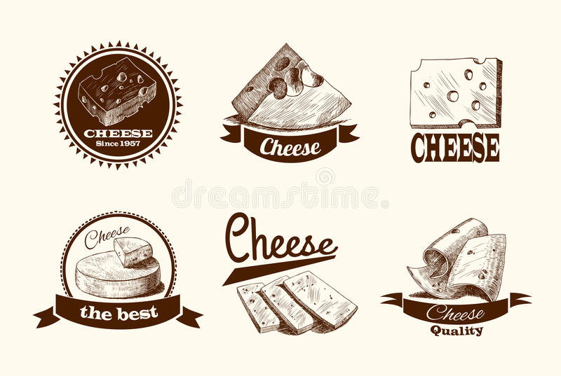 Cheese sketch labels. Cheddar parmesan and smoked cheese slices chunks and blocks assortment doodle icons set vector illustration stock illustration