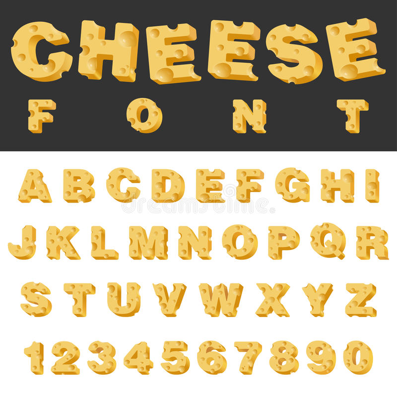 Cheese Slice Letters And Numbers Latin Font Stock Vector