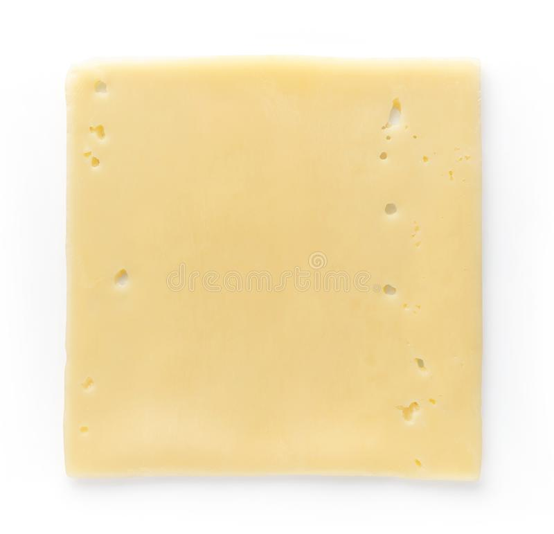 Cheese slices isolated on white, from above royalty free stock photo