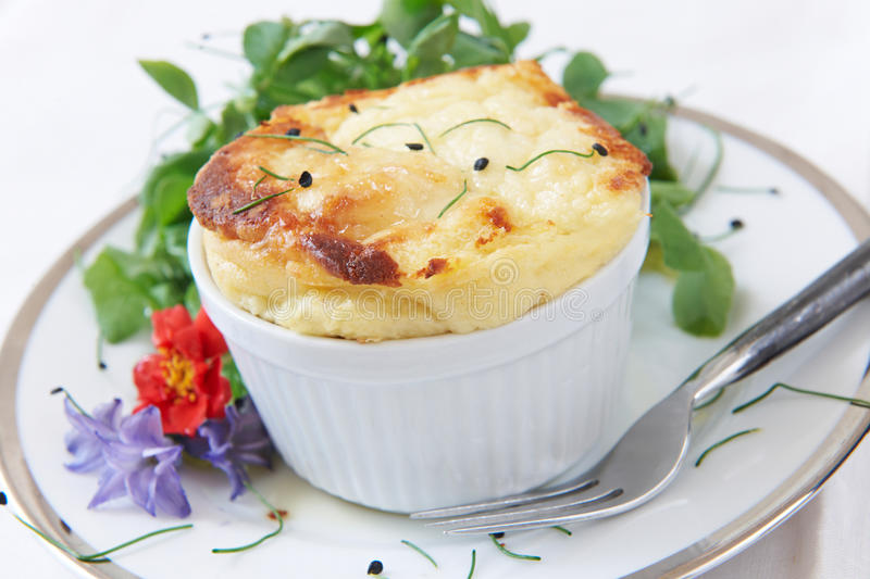 Cheese Souffle Served In Ramekin royalty free stock image