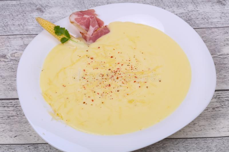 Cheese soup with bacon. And spices royalty free stock images