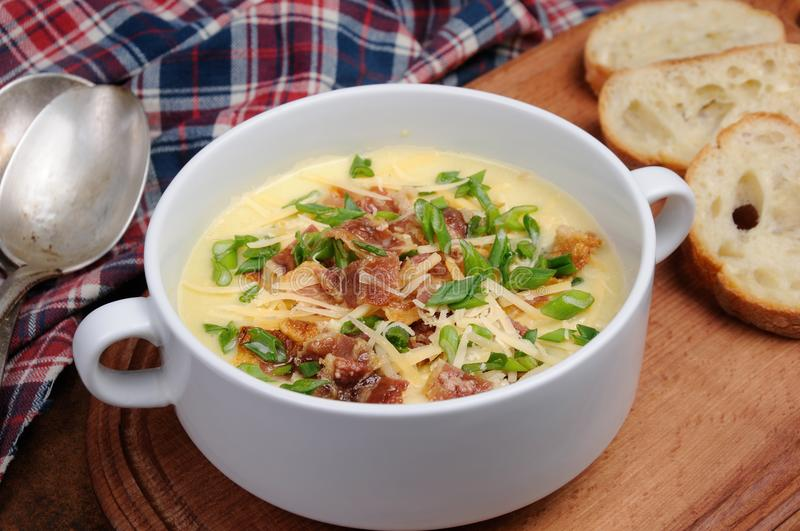 Cheese soup with bacon. Creamy Loaded Baked Potato Soup with Bacon and Cheese,green onions stock photo