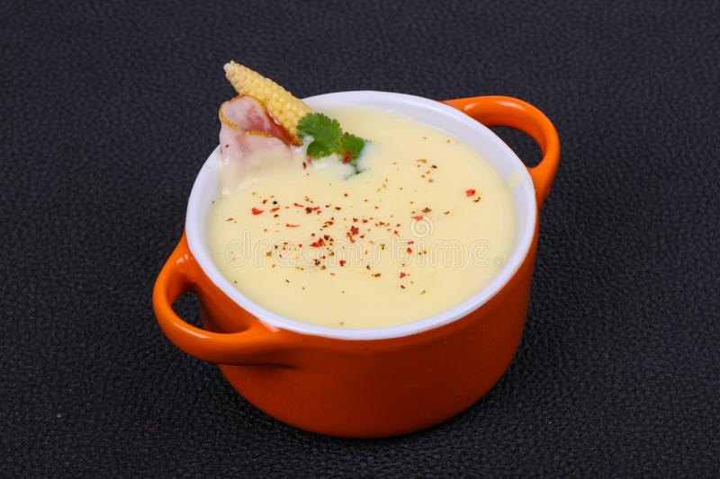 Cheese soup with bacon. And spices royalty free stock photo