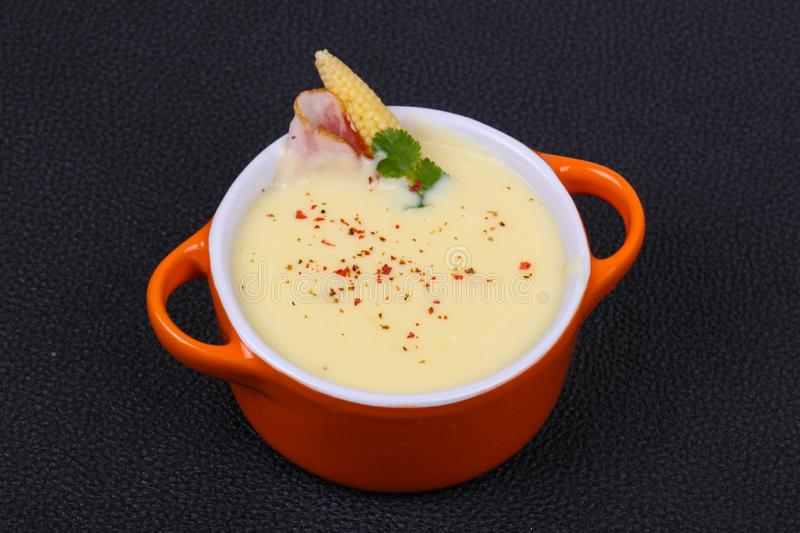 Cheese soup with bacon. And spices stock photography