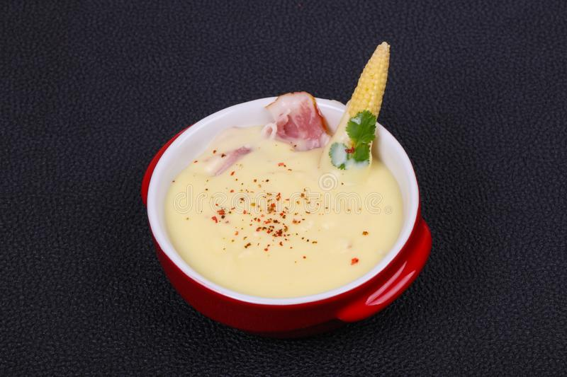 Cheese soup with bacon. And spices stock image