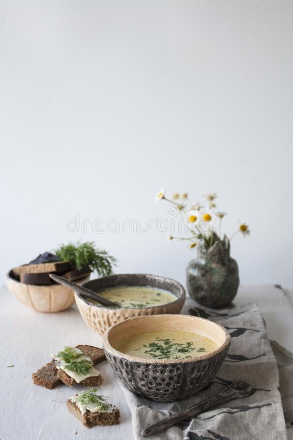 Cheese soup with mushrooms and vegetables, brown bread royalty free stock photos