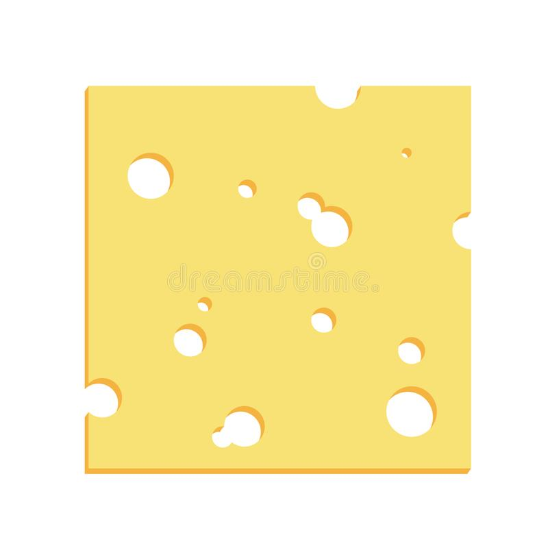 Cheese Square Slice With Holes Illustration. Simple cheese thin square slice with holes cartoon illustration. Flat colors style vector royalty free illustration