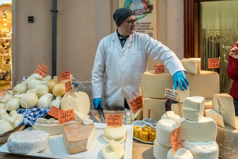 Cheese stall in Castelbuono in Sicily, Italy stock image