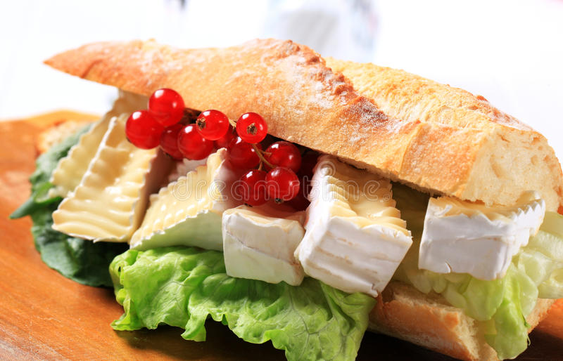 Cheese sub sandwich. Sub sandwich with white rind cheese and lettuce stock images