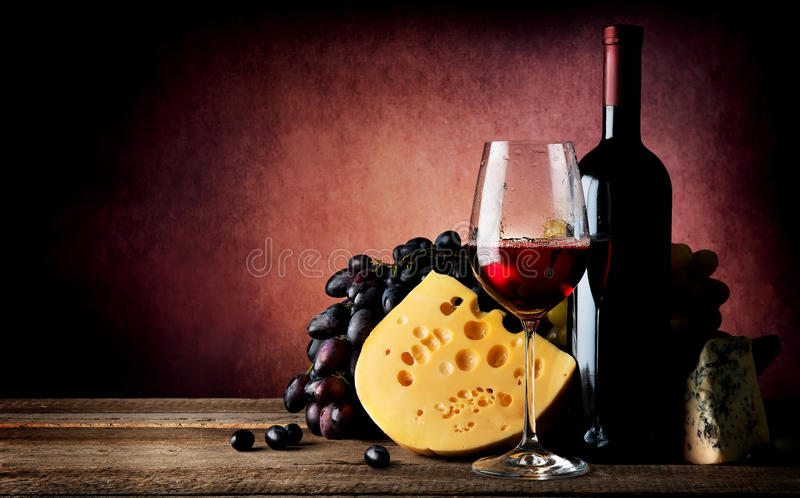 Cheese to wine royalty free stock photos