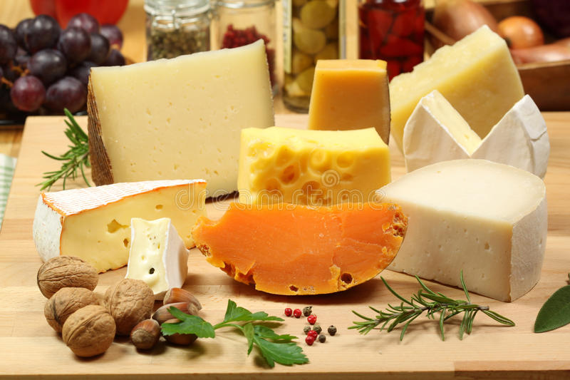 Cheese varieties stock photography