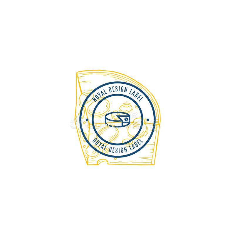 Cheese vector hand drawn dairy products logo. Detailed retro style illustration. royalty free illustration