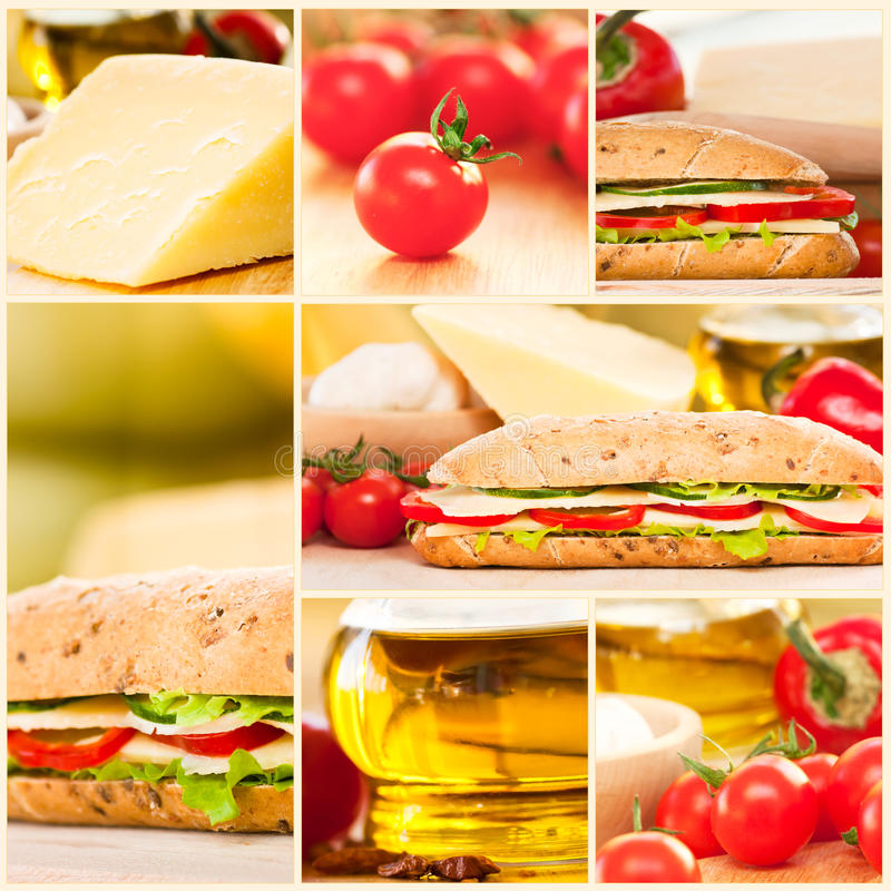 Cheese and vegetables sandwich collage stock images