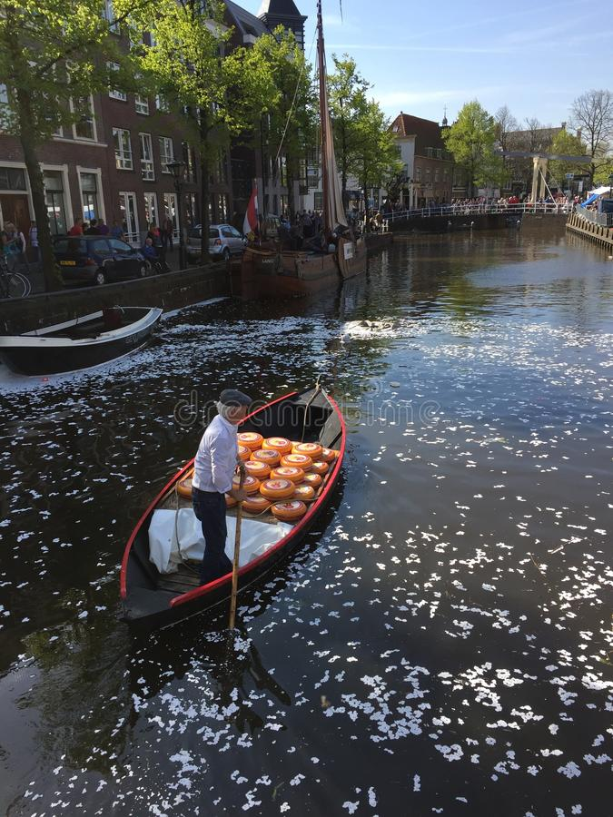 Amsterdam. Cheese on water stock photography