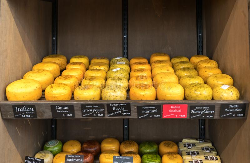 Cheese wheels in Amsterdam store. Netherlands royalty free stock photos