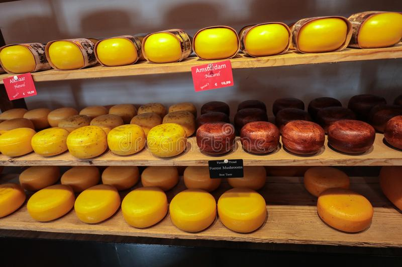 Cheese wheels in Amsterdam store. Netherlands royalty free stock images