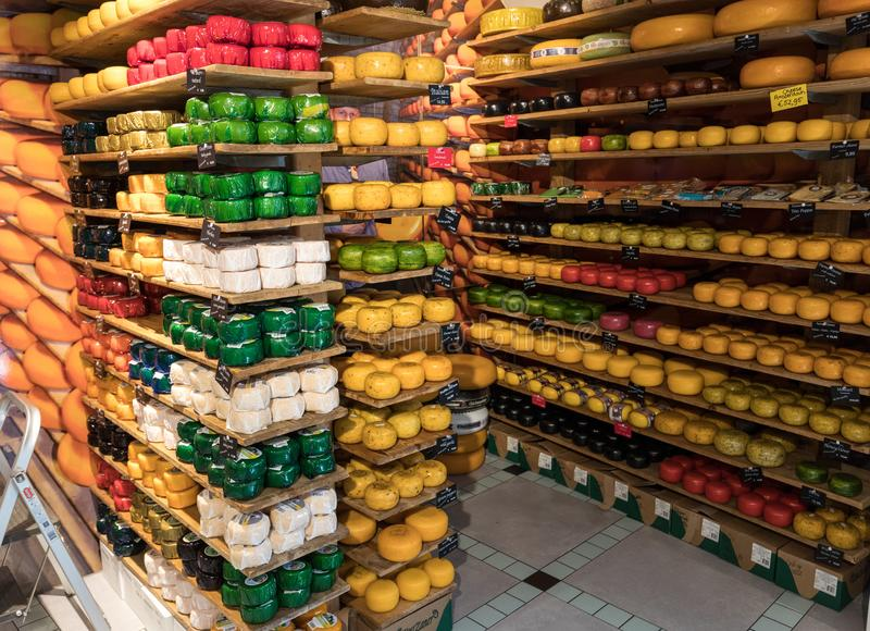 Cheese wheels in Amsterdam store. Netherlands stock photography