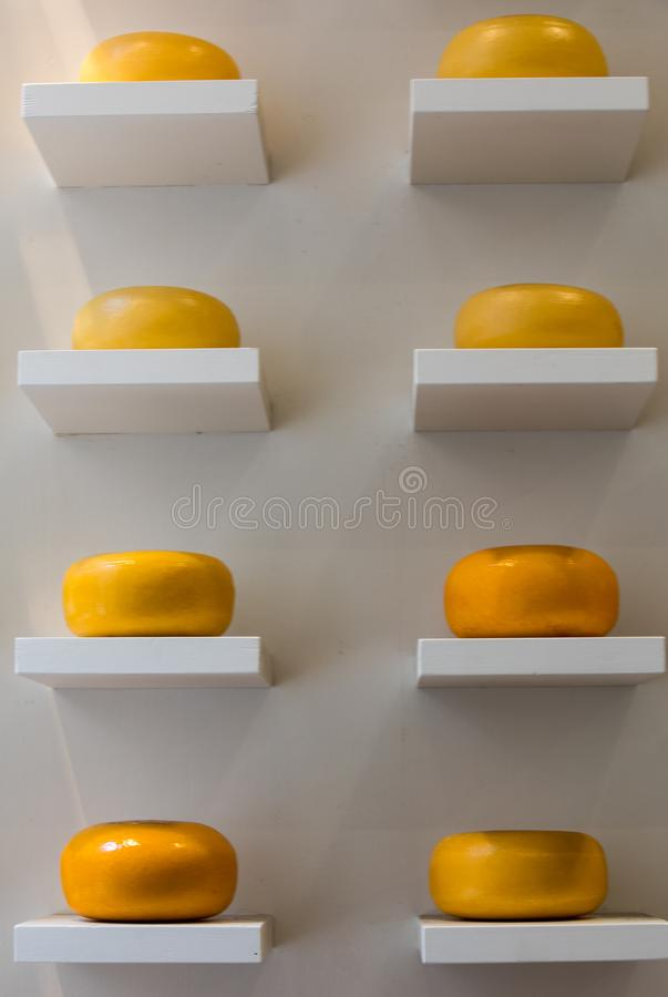 Cheese wheels in Amsterdam store. Netherlands.  stock photos