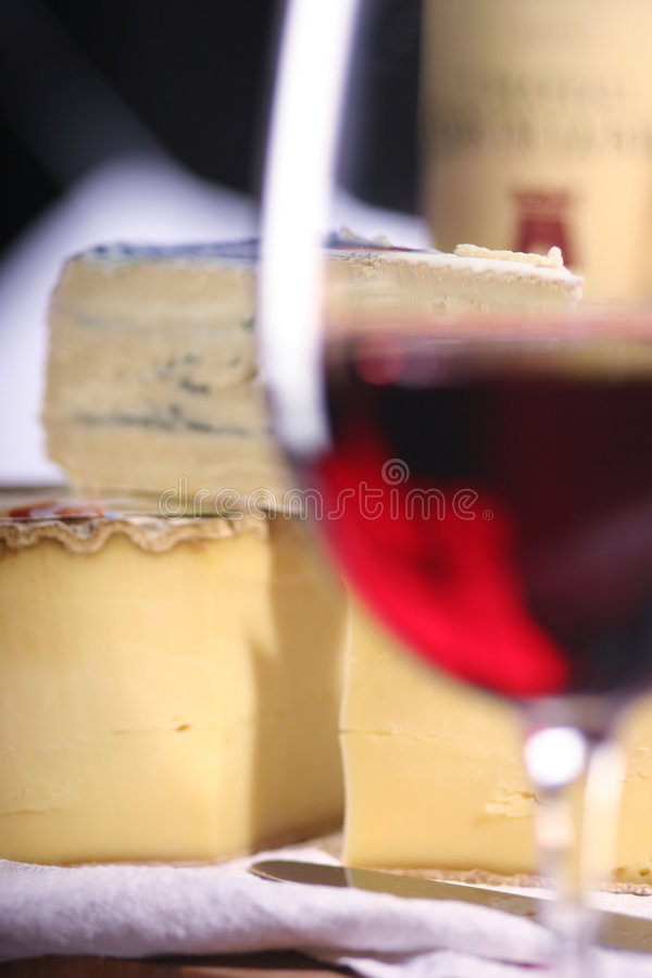 Cheese and wine stock images