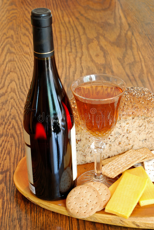 Cheese and Wine. Image of a cheese and wine platter stock images