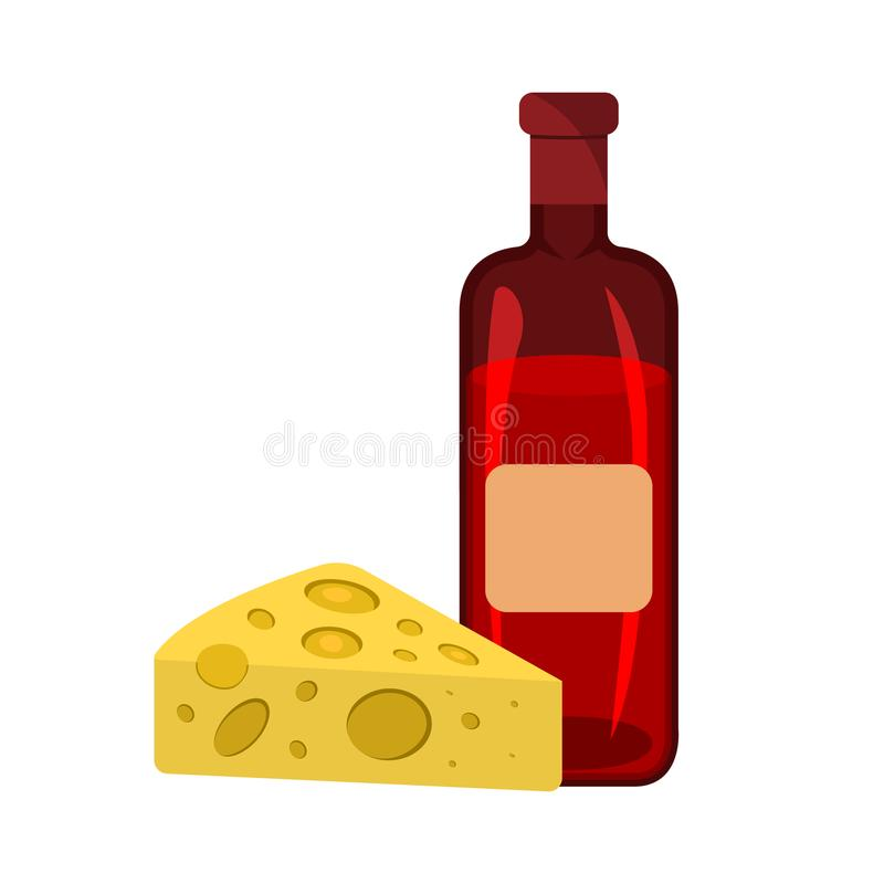 Cheese and Wine icon. BBQ and Picnic label on white Background. Cartoon style. Vector Illustration royalty free illustration