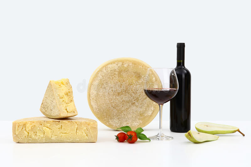 Cheese and wine with pears stock photos