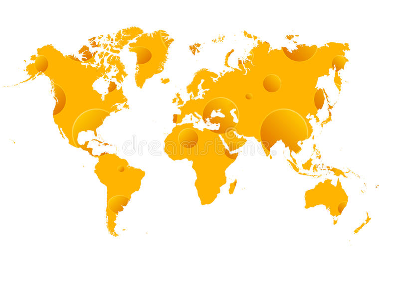 Cheese wold map vector illustration