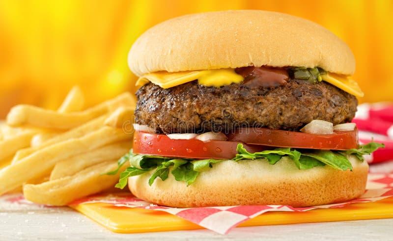 Cheeseburger και τηγανητά στοκ εικόνες