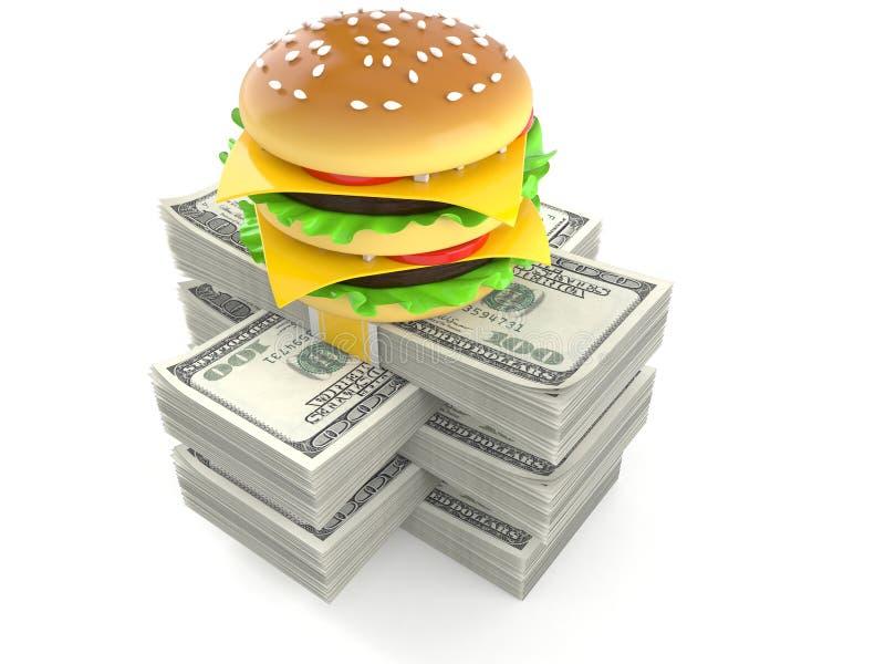 Cheeseburger στο σωρό των χρημάτων ελεύθερη απεικόνιση δικαιώματος