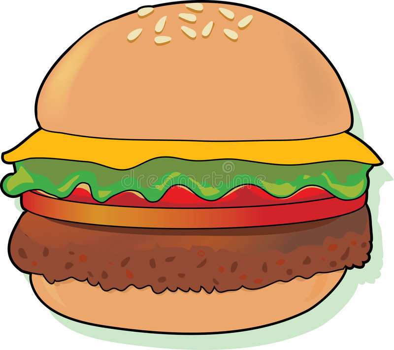 Cheeseburger. Juicy cheeseburger on a bun with all the toppings stock illustration