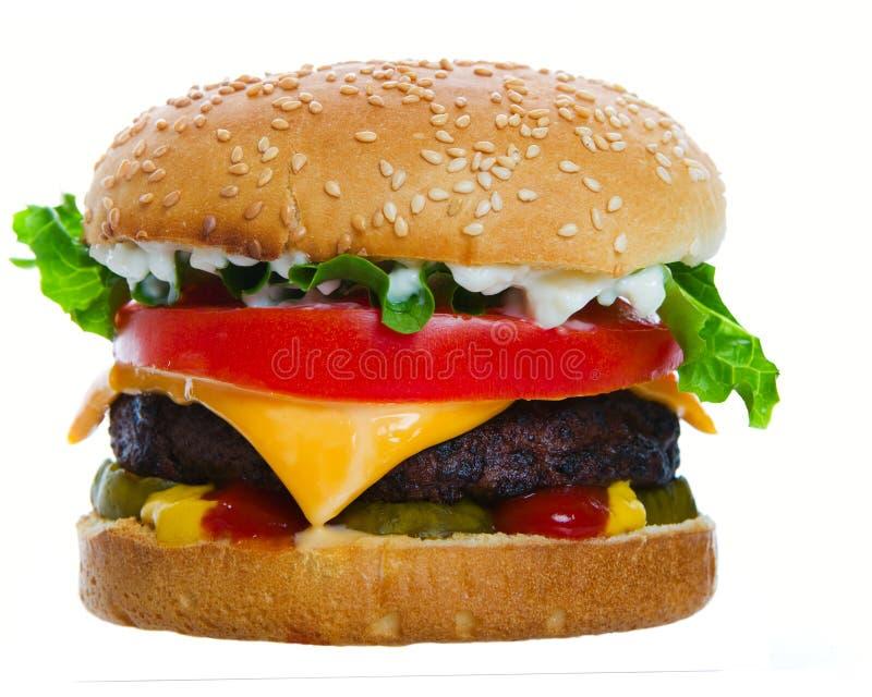 Cheeseburger caricato fotografia stock libera da diritti
