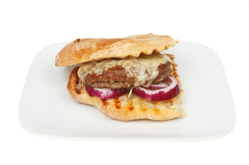 Download Cheeseburger in ciabatta stock photo. Image of lunch - 109857730