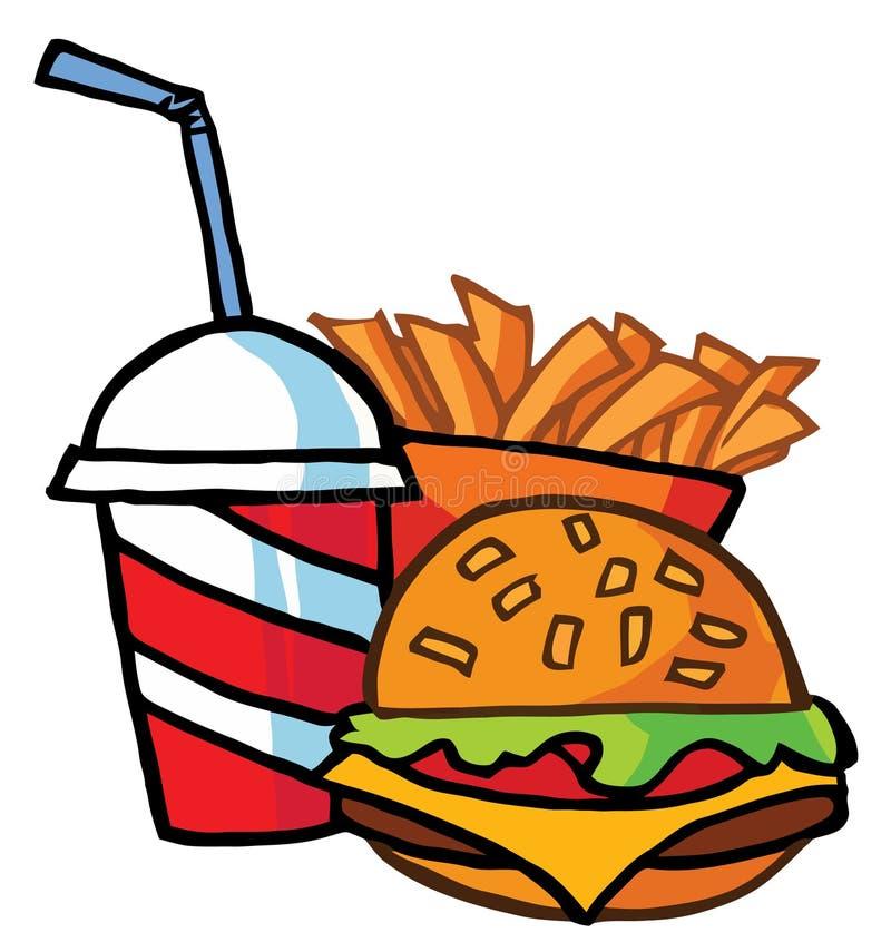 Cheeseburger com as fritadas da bebida e do francês ilustração stock