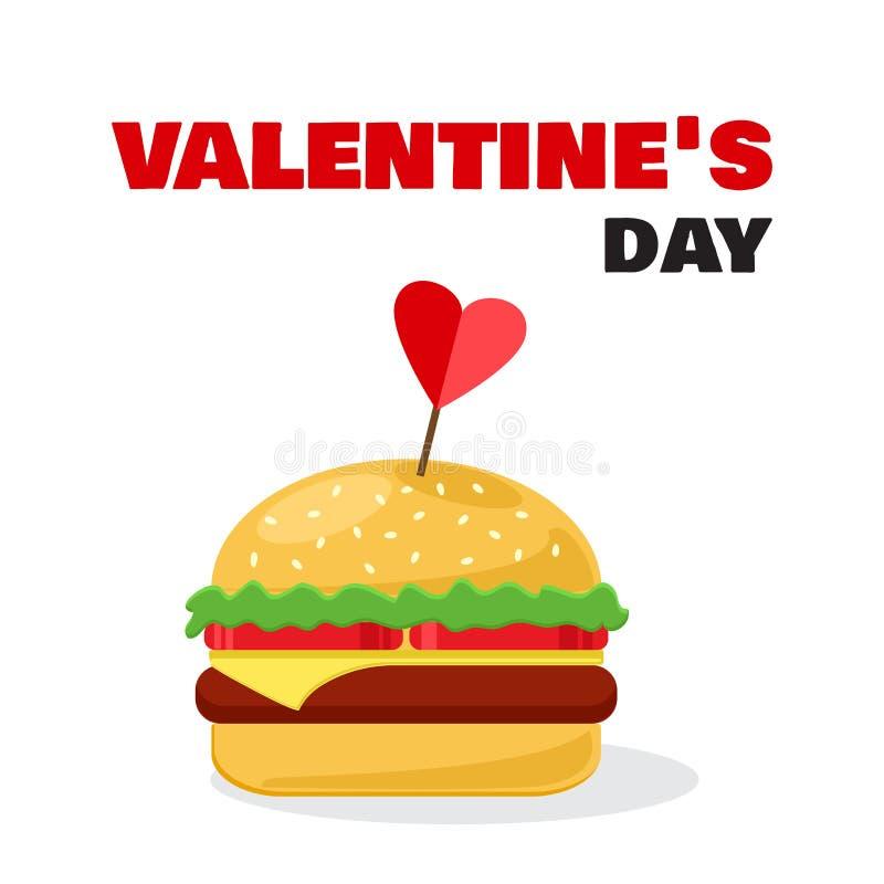 Cheeseburger con il San Valentino dell'iscrizione e del cuore Vettore illustrazione vettoriale