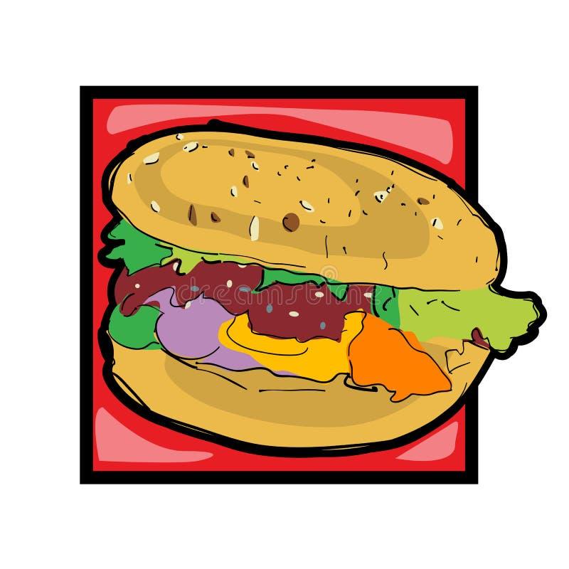 Cheeseburger da arte de grampo ilustração stock