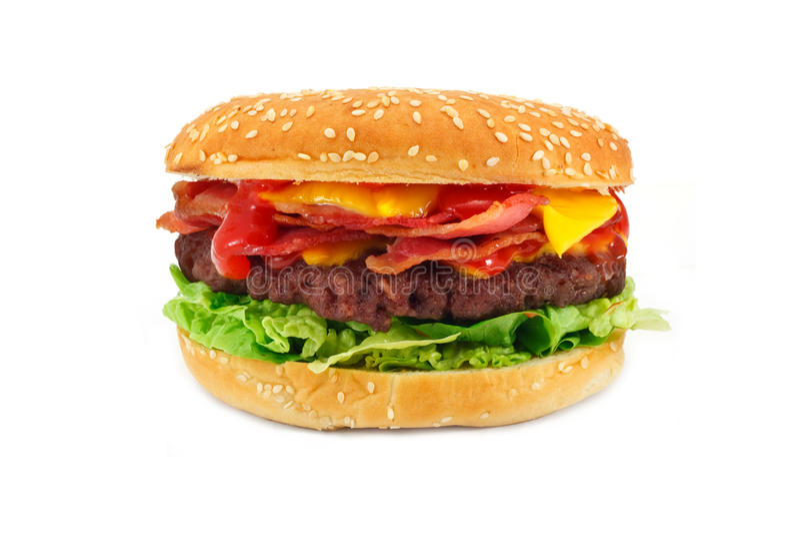 Cheeseburger del tocino fotografía de archivo libre de regalías