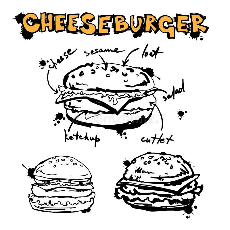 Cheeseburger do queijo do sanduíche do Hamburger da ilustração da carne do vetor ilustração stock