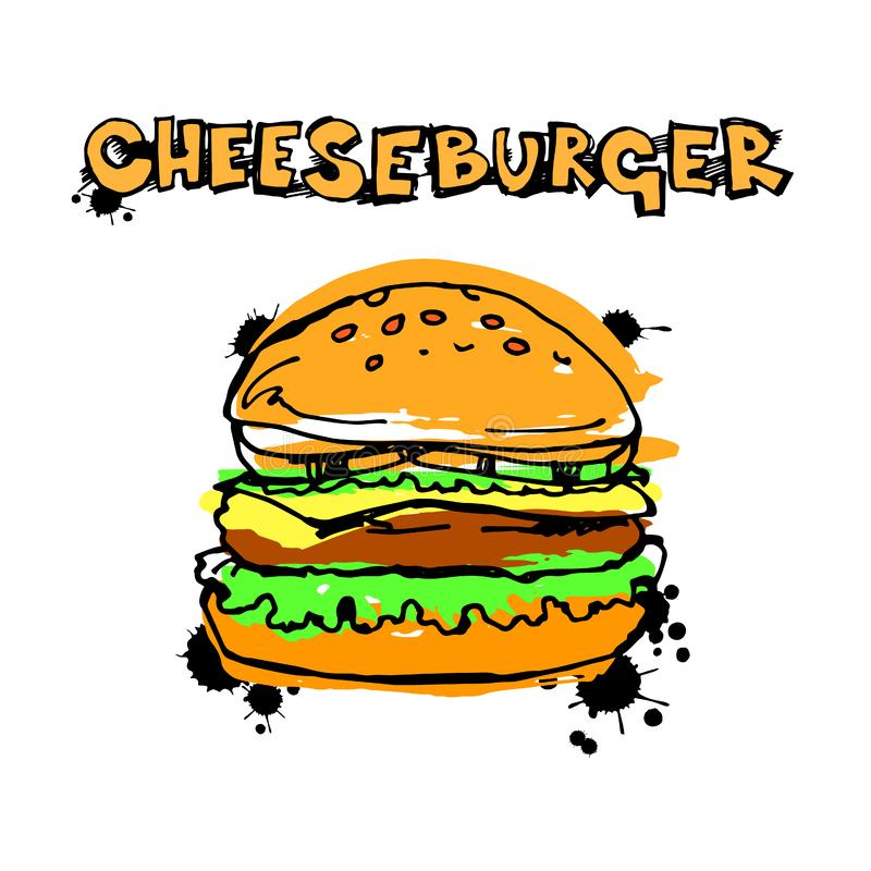 Cheeseburger do queijo do sanduíche do Hamburger da ilustração da carne do vetor ilustração royalty free
