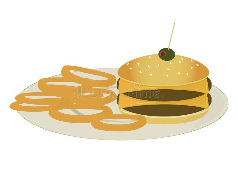 Cheeseburger dobro com anéis de cebola ilustração stock