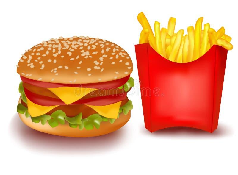 Cheeseburger dobro com as fritadas francesas. ilustração royalty free