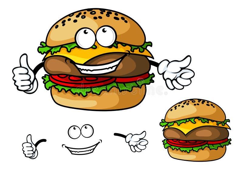 Cheeseburger dos desenhos animados do divertimento ilustração stock