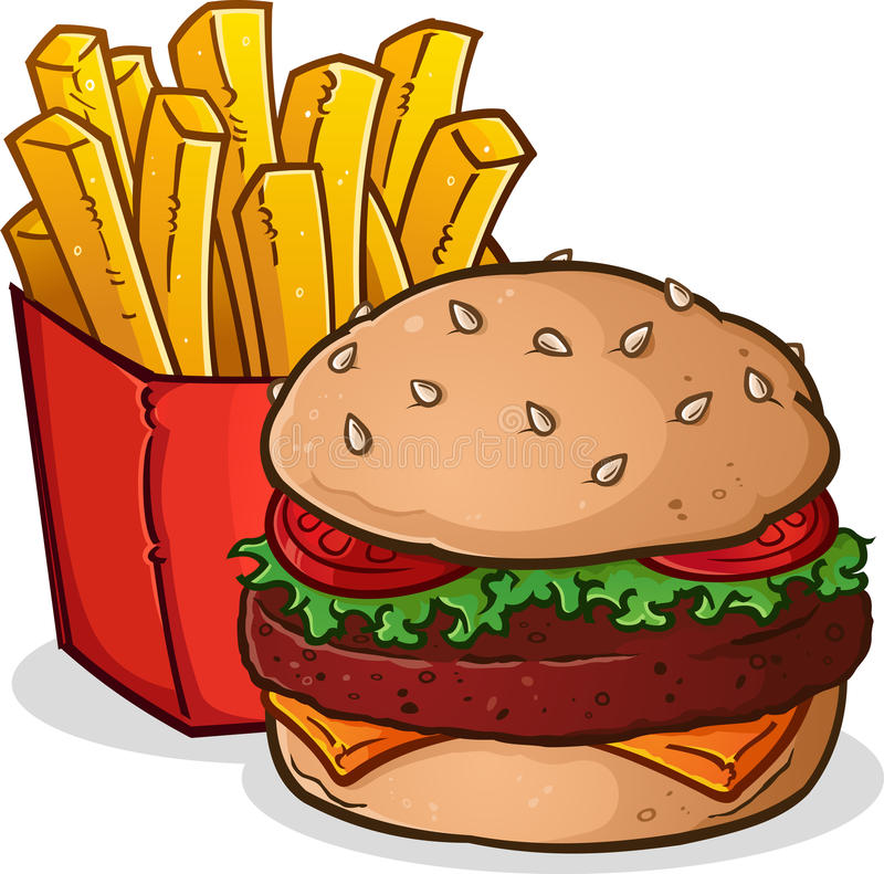 Cheeseburger French Fries Cartoon royalty free illustration