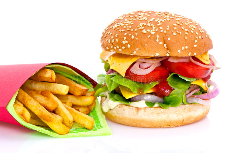 Download Cheeseburger and fries stock photo. Image of fries, seeds - 20074358