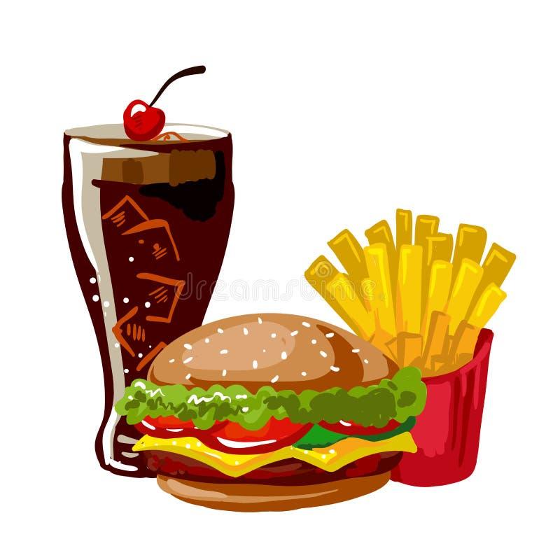 Cheeseburger, fritadas do francês e cola ilustração stock