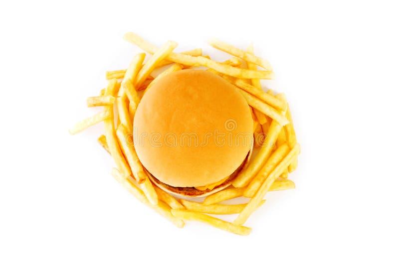 Cheeseburger getrennt stockfoto